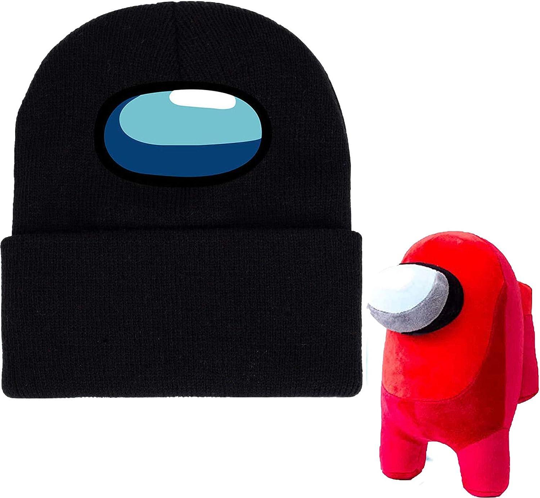 2 Pack Among Us Plush 8//20cm Big Among Us Plush Plushie Figure and Among Us Beanie Stretchy Knitted hat