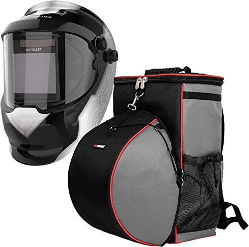 high quality YESWELDER Large Viewing True Color Solar Powered Auto Darkening Silver Welding Helmet with SIDE VIEW&Welding Backpack Extreme popular Gear Pack with online Helmetcatch outlet online sale