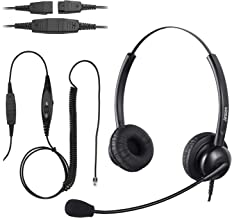$28 » Jaracom Corded Telephone Headset with Noise Cancelling Microphone, Call Center Telephone Headset with 4-Pin RJ9 Crystal He...