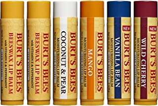 Burt's Bees 100% Natural Moisturizing Lip Balm, Multipack - Original Beeswax, Coconut & Pear, Vanilla Bean, Mango & Wild Cherry with Beeswax & Fruit Extracts - 6 Tubes