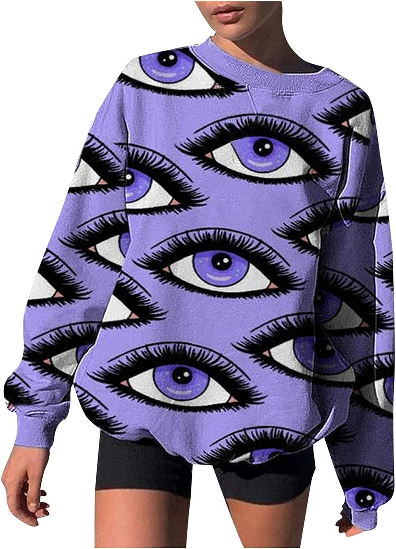 Women Fashion Print Pullover Sweatshirt Fashion Loose Long Sleeve Blouse Y2K Tops Shirt