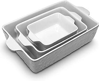 NutriChef 3 عدد. پخت نانواستک پخت PFOA PFOS PTFE سینی با سرامیک بدون بو ، اجاق مایکروویو اجاق گاز / ماشین ظرفشویی 446 درجه فارنهایت تابه پخت مستطیلی مستطیل ، خاکستری NCCRE76