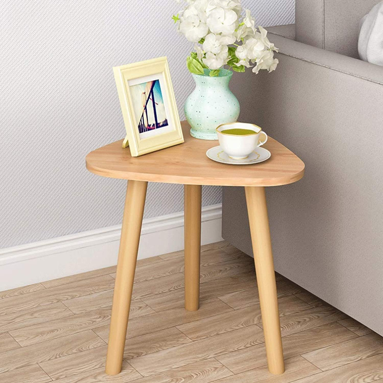 Triangle Coffee Table Side Table Work Table Bedroom Bedside Living Room Sofa Terrace Wood color (color   Natural, Size   35x42 cm)