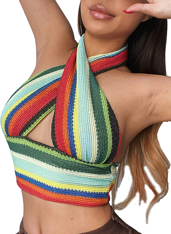 LYANER Women's Summer Striped Halter Neck Criss Cross Sleeveless Crop Cami Tank Top