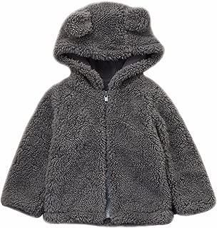 LOTUCY Baby Boy Girl Cartoon Bear Fleece Snowsuit Winter Warm Thick Hooded Coat Jacket