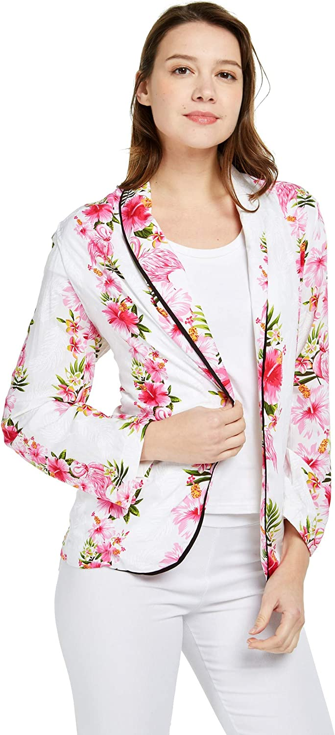 Women Light Weight Rayon Casual Open Front Jacket Cardigan