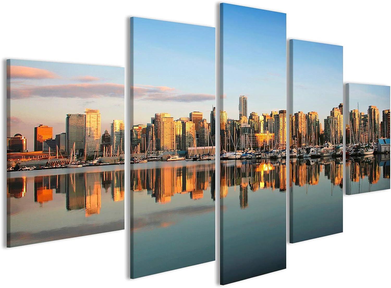 Islandburner Bild Bilder auf Leinwand Vancouver Innenstadt Skyline Skyline Skyline Panorama bei Sonnenuntergang Wandbild Leinwandbild Poster DAU B071GRRHTW d4665a