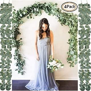 Olivachel Artificial Eucalyptus Garland Greenery Faux Silk Eucalyptus Leaves Vines DIY Decor for Wedding Party Backdrop Arch Wall Home Decor (Eucalyptus Garland - 4Pcs/Pack)
