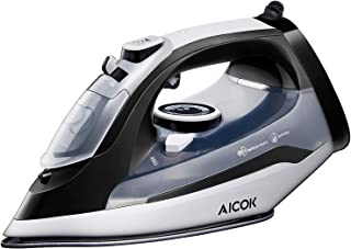 AICOK Steam Iron, 1400W Non-Stick Soleplate Iron for Clothes, Variable Temperature and Steam Control, Anti-Drip, Rapid Heating, Black