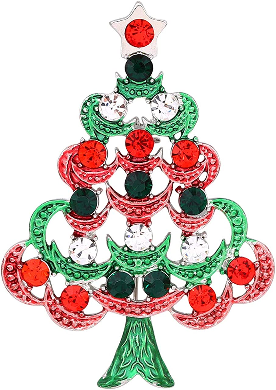 Christmas Brooch Pins - Festival Xmas Brooches with Crystal for Women and Girls Cute Statement Christmas Party Pin Jewelry (Red Bow, Christmas Tree, Santa Claus, Snowman)