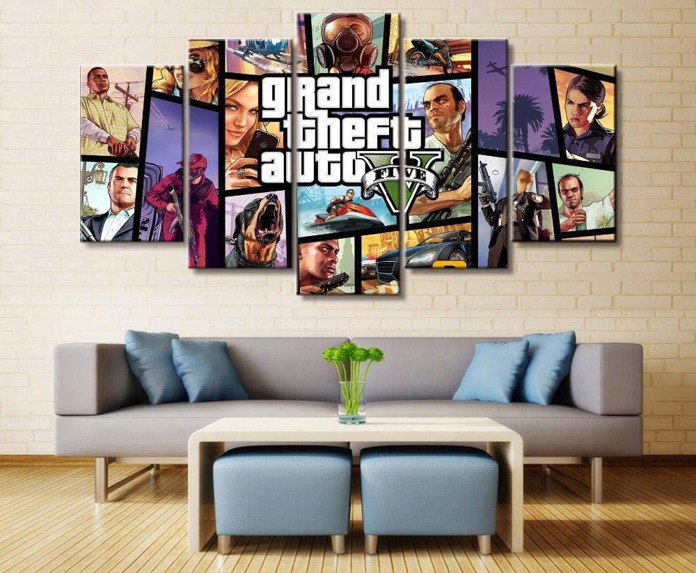 GIRDSS Leinwand Bilder 5 Teilig Kunstdruck Modern Wandbilder XXL Home Wohnzimmer Wanddekoration 5 TLG Bilder GTA Grand Theft Auto Fünf Creative…