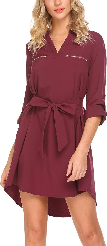 SE MIU Women Long Sleeve V Casual B Boyfriend Many popular brands Tunic Neck T-Shirt Import