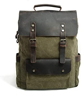 Leather Bag Mens Retro Crazy Horse Leather Outdoor Laptop Men's Canvas Backpack Fashion Trend Casual High Capacity (Color : Green, Size : 30cm*11cm*38cm)
