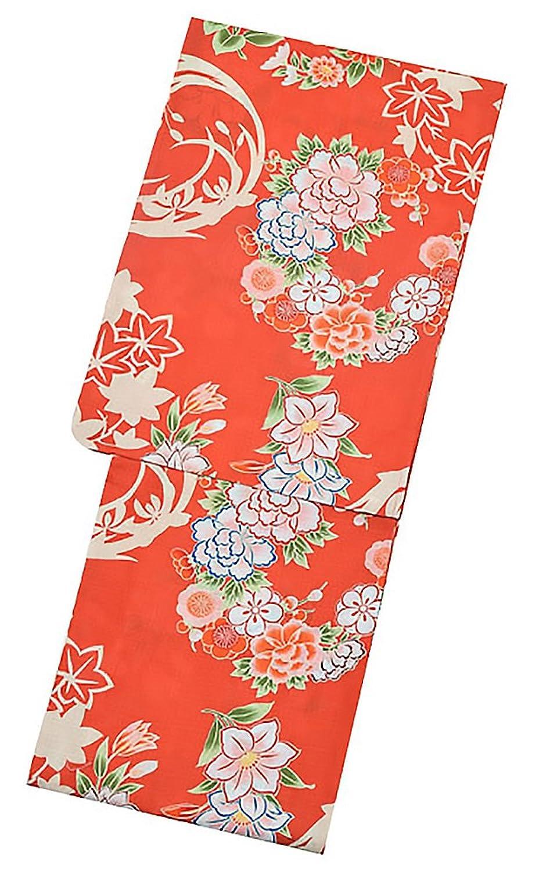 [ KIMONOMACHI ] 京都きもの町オリジナル 浴衣単品「朱赤色 花の丸紋」