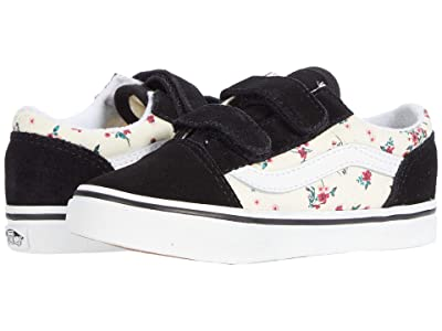 Vans Kids Old Skool V (Infant/Toddler) ((Ditsy Floral) Classic White/True White) Girls Shoes