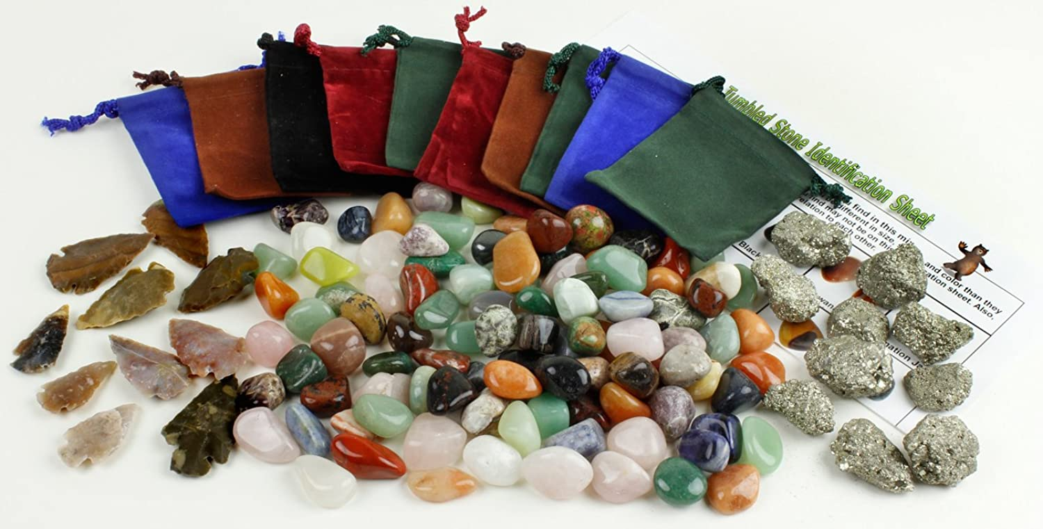 [ダンシング ? ベア]Dancing Bear Tumbled Rocks and Minerals Party Favor Bag Kit. Enough Stones, Pyrite, Arrowheads, & [並行輸入品]