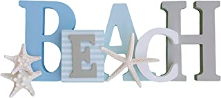 Wooden Beach Word Sign with Trio of Loose Starfish – Tropical Beach Home Decor