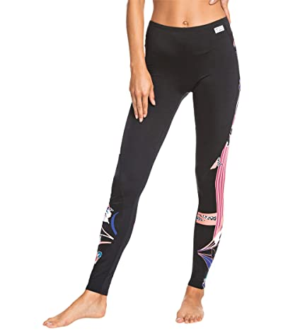 Roxy Pop Surf Leggings (True Black/Pop Flowers) Women