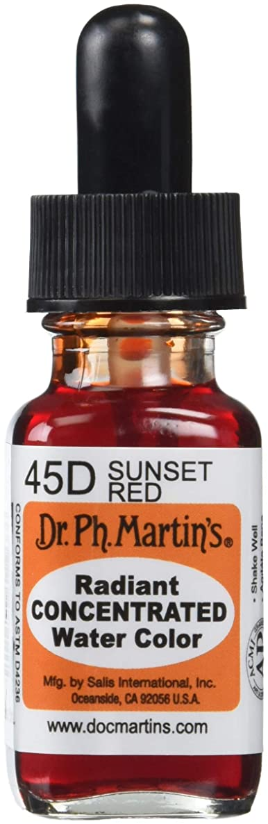 Dr. Ph. Martin's Radiant Concentrated Water Color, 0.5 oz, Sunset Red (45D)