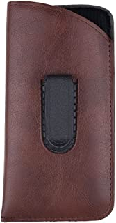 Slip In Glasses Case Sleeve with Pocket Clip - Protects Eyewear from Damages