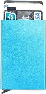 DeLiu RFID Credit Card Holder Minimalist Slim Wallet Front Pocket Card Protector Pop up Design Aluminum Up to Hold 6 Cards (Blue)