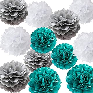 Teal and Gray Baby Shower Decorations for Boy Teal Gray Birthday Party Decorations Teal Bridal Shower Decorations Wedding Party Decorations Home Decor 12 Pcs 10