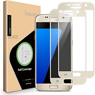 ICHECKEY 2-Pack Samsung Galaxy S7 Screen Protector, 2.5D Full Coverage Tempered Glass Screen Protector Cover for Samsung Galaxy S7-Gold