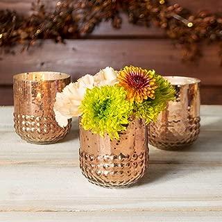 Mercury Glass Votive Candle Holder, Hobnail Vase, 3in, Rose Gold, 6 Pk