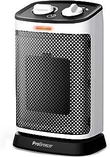 Pro Breeze Calentador de Cerámica Oscilante de 1500W – Oscilación de 70°,Termostato Ajustable, 6 Modos de Operación, Prote...