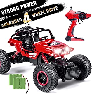 INGQU 1:14 Remote Control Car 4WD Off Road Monster Trucks with Head Lights 2.4Ghz Rock Crawler Electric Hobby Toy Red