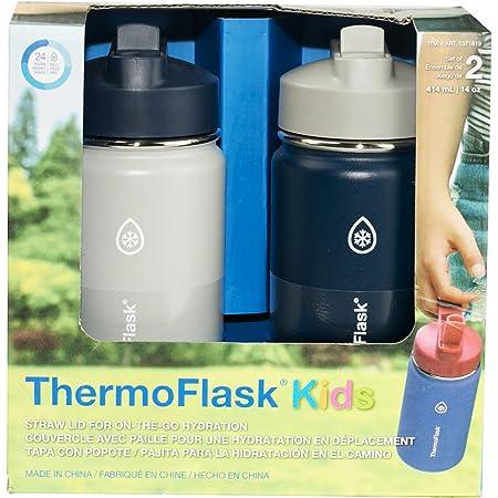 Thermoflask Botella de acero inoxidable para niños, de 14 onzas, 2 unidades, color gris, mezclilla