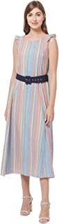109 F Women's Multicoloured Striped Dress