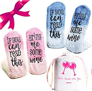 """ADAMITA Wine Socks""""If You Can Read This Bring Me Some Wine""""Two Pairs, 4 Socks with Gift Bag Packaging Great Ideas for Women,Men,Mom or Wife, Perfect Valentines Day, White Elephant,Wine Lovers Gifts"""