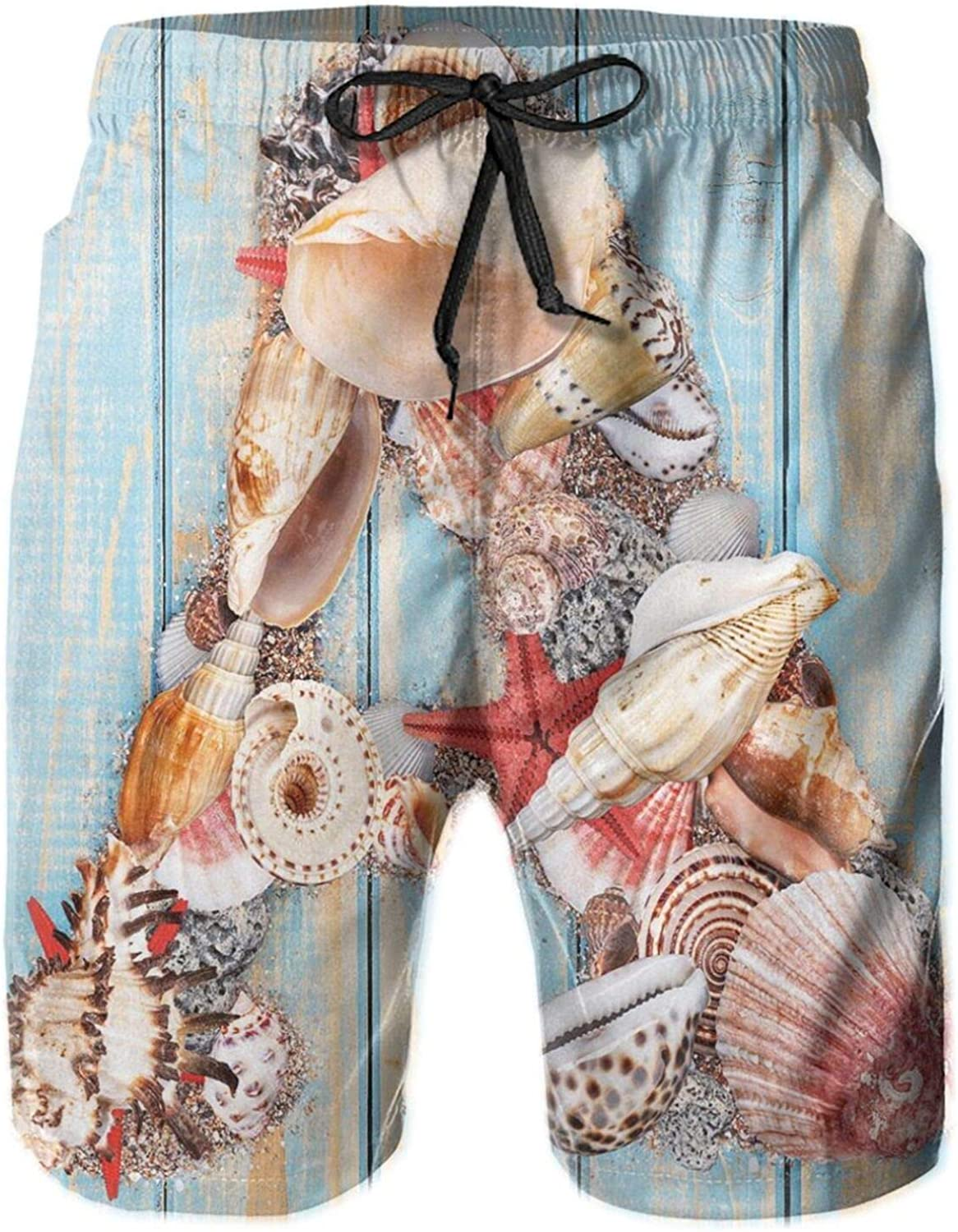 Letter A with Seashells On Pale Wooden Board Invertebrates Animal Drawstring Waist Beach Shorts for Men Swim Trucks Board Shorts with Mesh Lining,L