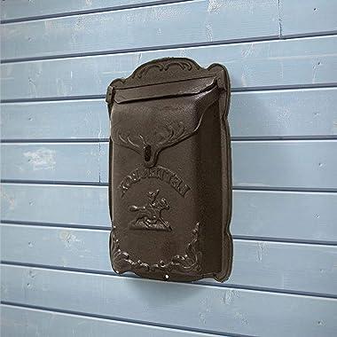 NACH DY-2913BR Cara Mailbox Brown Cast Iron, Large
