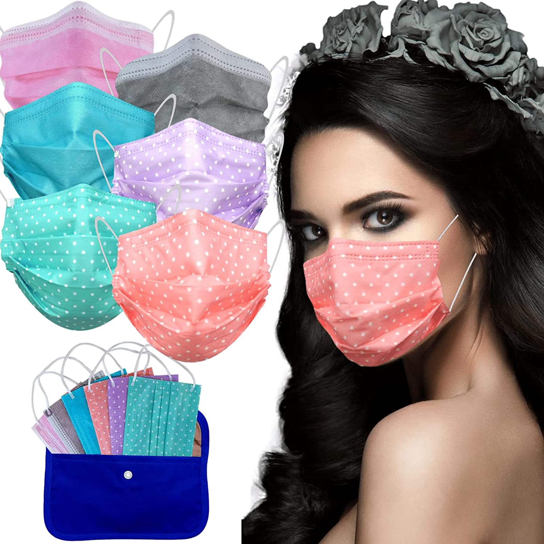 MVT - 60x Mascarilla Protectora Higiénica Desechable UNE 0064-1:20 3 capas Colores y Estampados Variados + Mask Case de tela color aleatorio