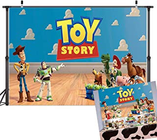TJ 5X3FT Blue Sky White Clouds Toy Story Theme Photography Background Children Baby Shower Birthday Party Photo Backdrops Cake Table Decoration Banner Kids Studio Booth Props Vinyl