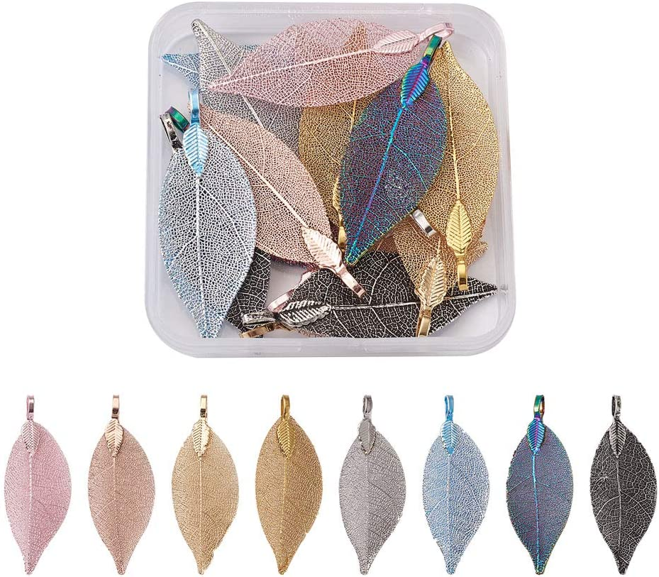 Cheriswelry 16pcs Electroplated Nature Max 76% 2021 model OFF Filigre Pendants Leaf Big