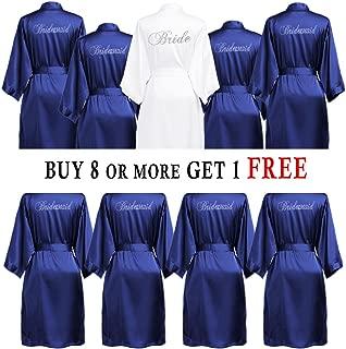 Set of Bridesmaid Robes Buy 6 Get 1 Free Bridesmaid Gift Personalized Rhinestone Satin Bride Robes