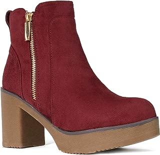 RF ROOM OF FASHION Women's Chunky Platform Heel Ankle Boots Bootie Burgundy SU Size.10