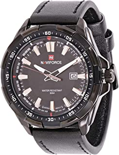 Naviforce Men's Black Dial Leather Band Watch - NF9056