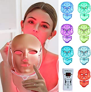 LED Face Mâsk Light Therapy - 7 Color Light Therapy Mâsk Photon Skin Rejuvenation Facial Skin Care with Neck Care Anti Agi...