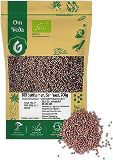OmVeda BIO Senfsamen Senfkörner Senfsaat Senf Samen | braun schwarz | ganz | BIO-Qualität | Senf-Gewürz | Indische Asiatische Küche 200g