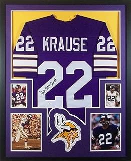Paul Krause Minnesota Vikings Autograph Signed Custom Framed Jersey HOF Inscribed JSA Witnessed Certified