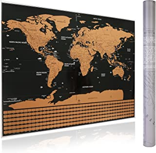 DAYONG Scratch Off World Map for Poster Premium Wall Art Gift for Travelers & All Country Flags (Style 1)