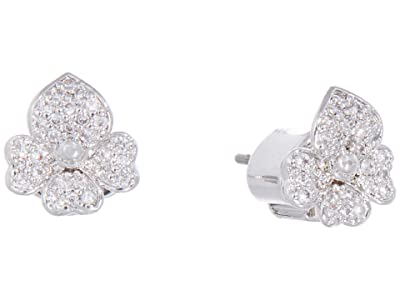 Kate Spade New York Precious Pansy Pave Stud Earrings (Clear/Silver) Earring