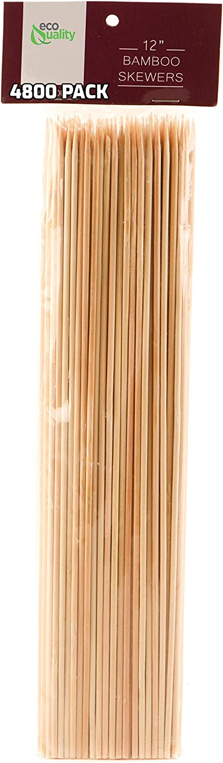 Award-winning store EcoQuality 4800 Pack Branded goods 12 Inch - Bamboo Skewers Kabob for