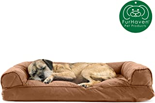 Furhaven Pet Dog Bed   Quilted Pillow Cushion Traditional Sofa-Style Living Room Couch Pet Bed w/ Removable Cover for Dogs & Cats, Toasted Brown, Medium