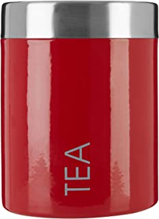 Premier Housewares Tea Canister with Rubber Seal - Red Enamel