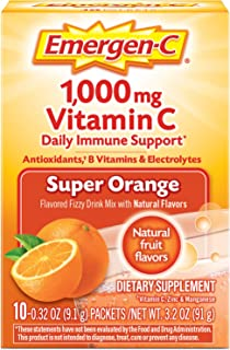 Emergen-C Vitamin C 1000mg Powder (10 Count, Super Orange Flavor), With Antioxidants, B Vitamins And Electrolytes, Dietary...